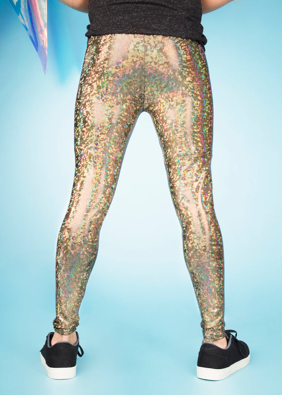 Holographic gold men's leggings meggings MADWAG festival pants