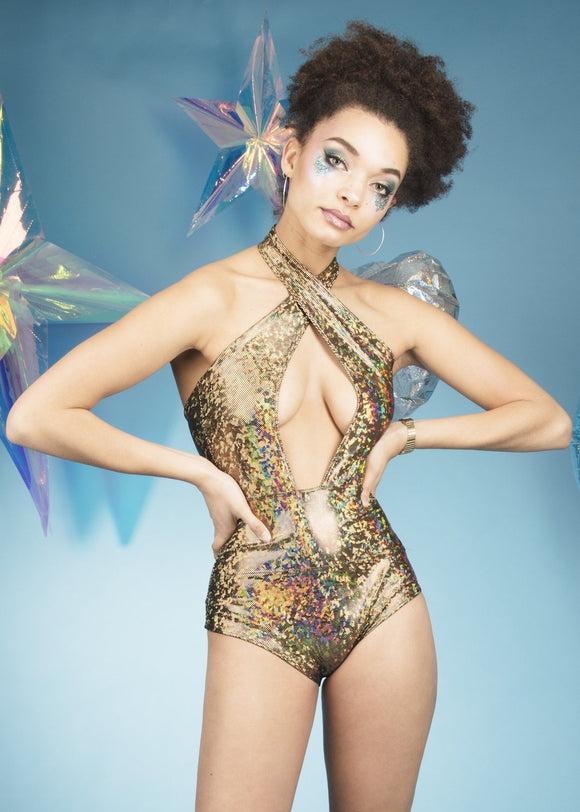 Gold Holographic Deep Plunge Cross Halter Neck Leotard Festival Outfit MADWAG
