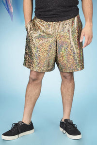 Gold Holographic Festival Shorts Baggy MADWAG Unisex