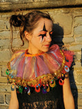 Rainbow Sequin Neck Ruffle Halloween Clown Collar MADWAG Multicoloured Colourful Colorful Wrist Cuffs
