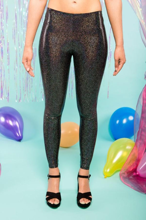 BLACK HOLOGRAPHIC LEGGINGS