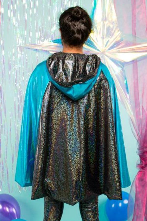 REVERSIBLE HOODED CAPE - HOLOGRAPHIC BLACK / BLUE