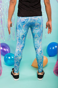 Blue Ice Holographic Meggings Men's Leggings Festival Pants MADWAG
