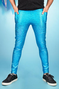 Turquoise Metallic Meggings With Pockets Men's Leggings Festival Pants MADWAG