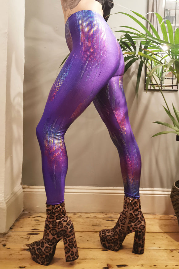 Purple Rain Metallic Leggings Festival Pants MADWAG Rainbow