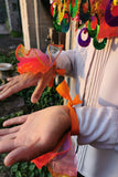 Rainbow Wrist Cuffs Gold Trim Pink Orange Clown Ruffle Halloween Costume Idea MADWAG