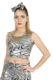 Holographic Silver Swirl Festival Party Crop Top MADWAG