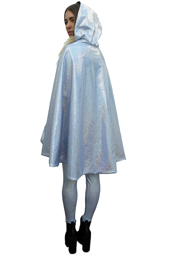 Silver Holographic Snakeskin Festival Cape Hooded Reversible MADWAG