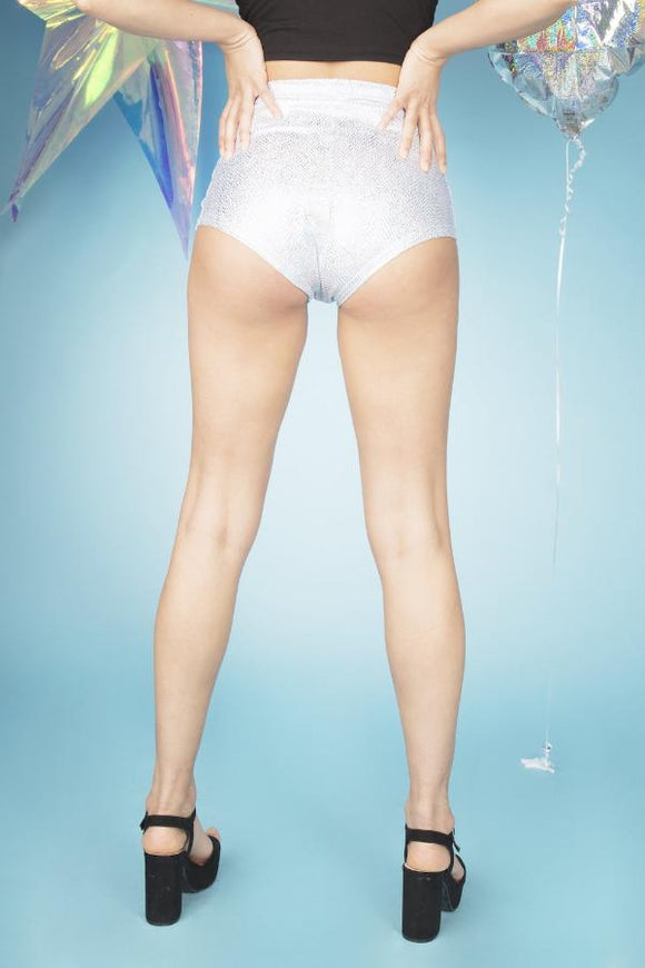 Silver Holographic High Waisted Hot Pants Festival Shorts MADWAG