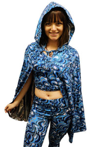Retro Printed Reversible Hooded Cape - Blue Swirls Silver MADWAG