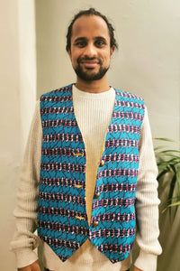 Turquoise African Printed Patterned Waistcoat Reversible Gold Purple Buttoned MADWAG Festival Vest