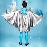 Turquoise Silver Metallic Reversible Hooded Cape Men's Festival Cape MADWAG