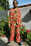 Watermelon Trousers Printed Elasticated Pants pockets Red Green Long Leg Festival MADWAG Novelty
