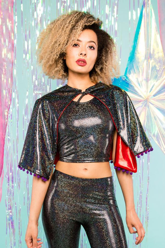 Black Holographic Sparkly Cape With Pom Pom Trim Festival Cape MADWAG