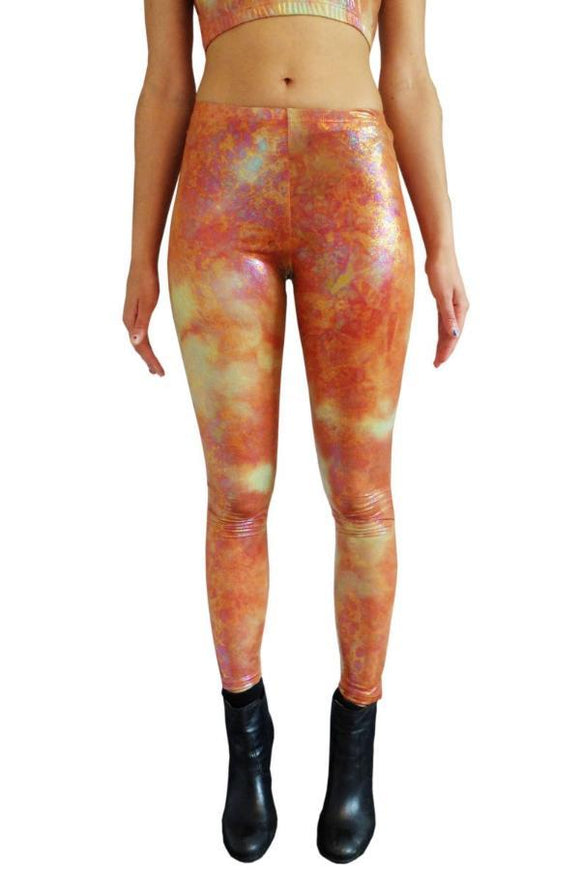 Orange Fire Leggings Festival Party Leggings MADWAG