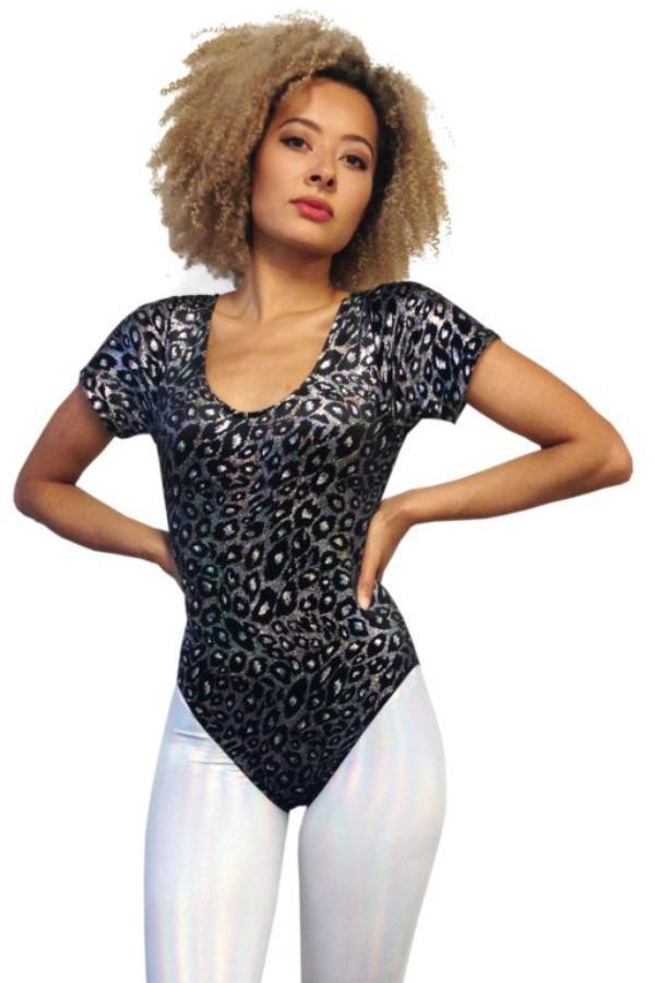 ae9c776df5 ... Holographic Glittery Velour Leopard Print Leotard Festival Party Leotard  MADWAG ...