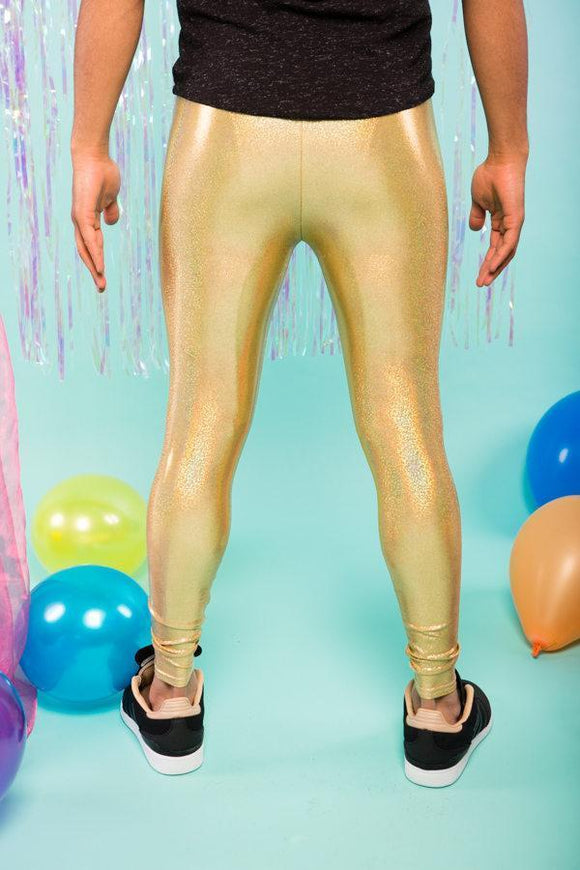 Gold Holographic Meggings / Men's Festival Leggings MADWAG