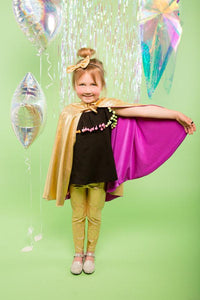 Kids Girls Reversible Gold Purple Holographic Sparkly Cape MADWAG