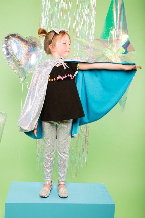 Kids Girls Reversible Holographic Silver Snakeskin Blue Sparkly Cape MADWAG