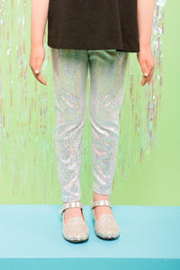 Silver Holographic Snakeskin Girls Children Leggings Festival Party MADWAG