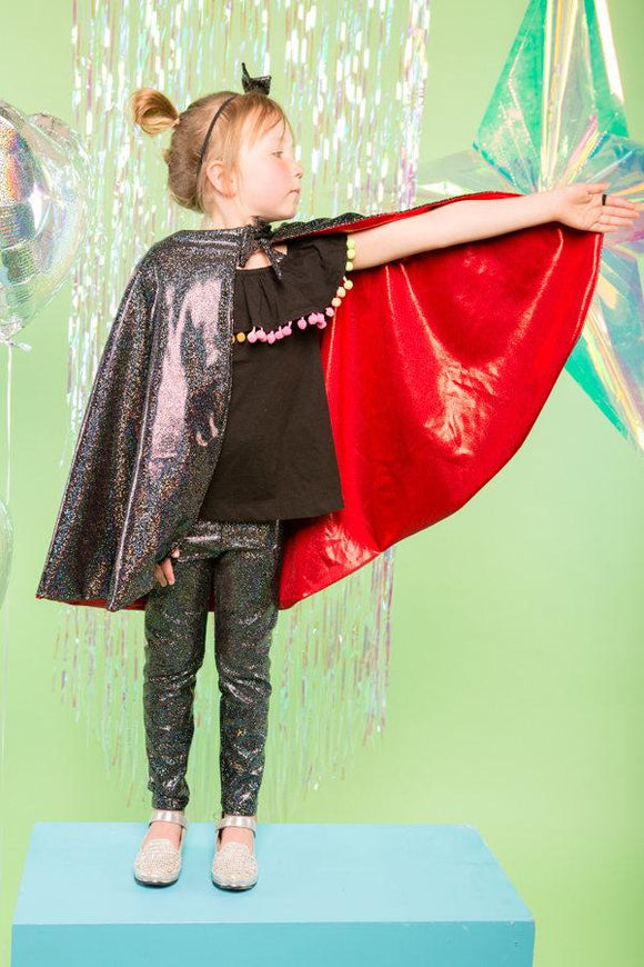 Kids Girls Reversible Black Red Holographic Sparkly Cape MADWAG