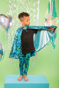 Kids Boys Reversible Glittery Blue Merman & Silver Cape MADWAG