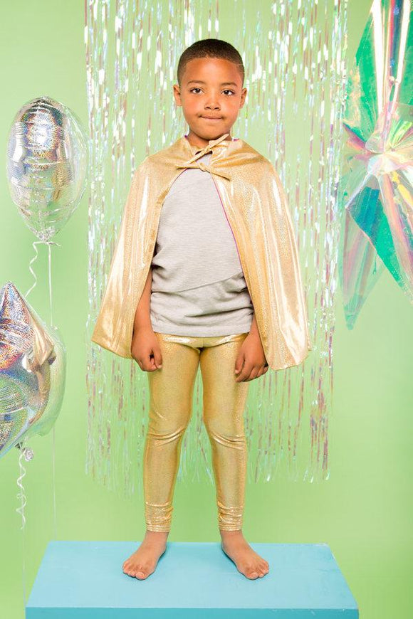 Kids Boys Reversible Gold Purple Holographic Sparkly Cape MADWAG