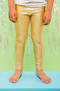 Boys Children Gold Sparkly Holographic Festival Party Leggings MADWAG