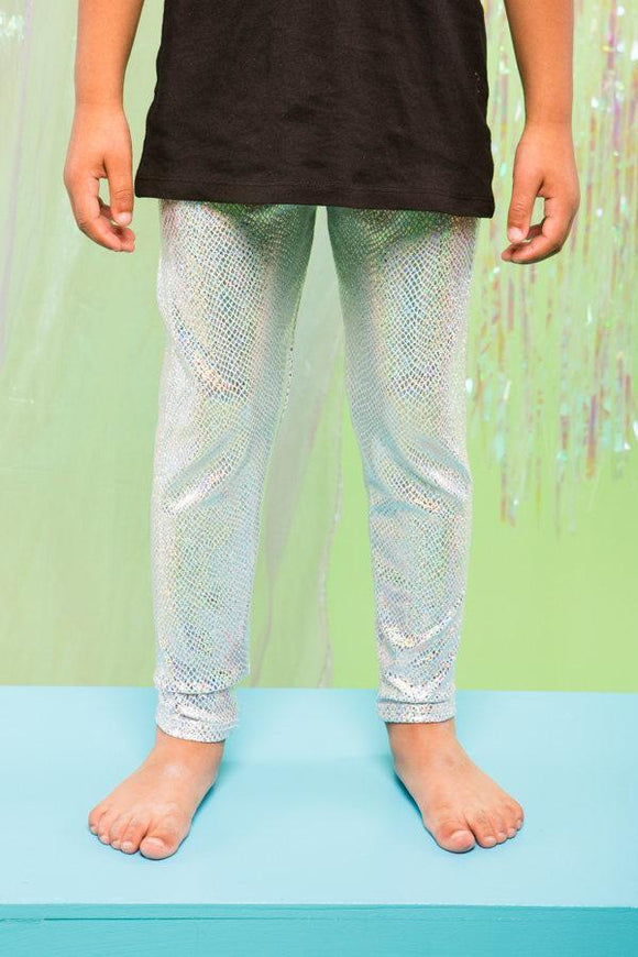 Silver Holographic Snakeskin Boys Children Leggings Festival Party MADWAG