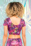 Pink Glitter Sparkly Jungle Crop Top Festival Party Top MADWAG