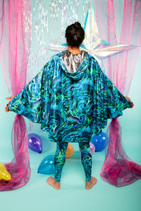 REVERSIBLE HOODED CAPE - MERMAN BLUE / SILVER