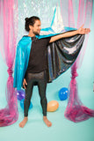 Holographic Black Blue Metallic Reversible Hooded Cape Men's Festival Cape MADWAG