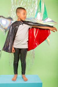Kids Boys Reversible Black Red Holographic Sparkly Cape MADWAG