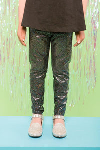 Girls Children Black Sparkly Holographic Festival Party Leggings MADWAG