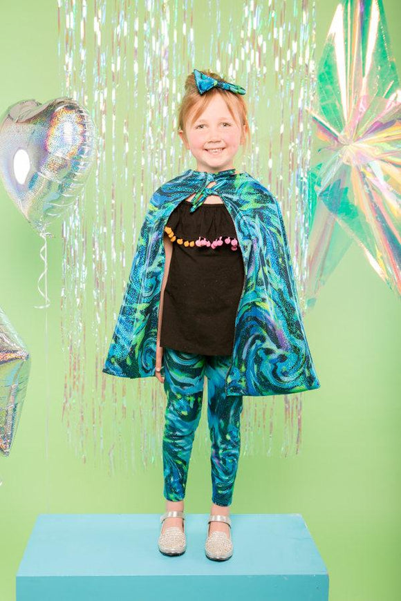 Kids Girls Reversible Glittery Blue Mermaid & Silver Cape MADWAG