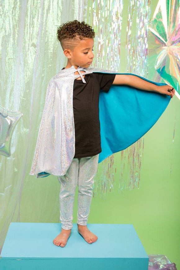 Kids Boys Reversible Holographic Silver Snakeskin Blue Sparkly Cape MADWAG