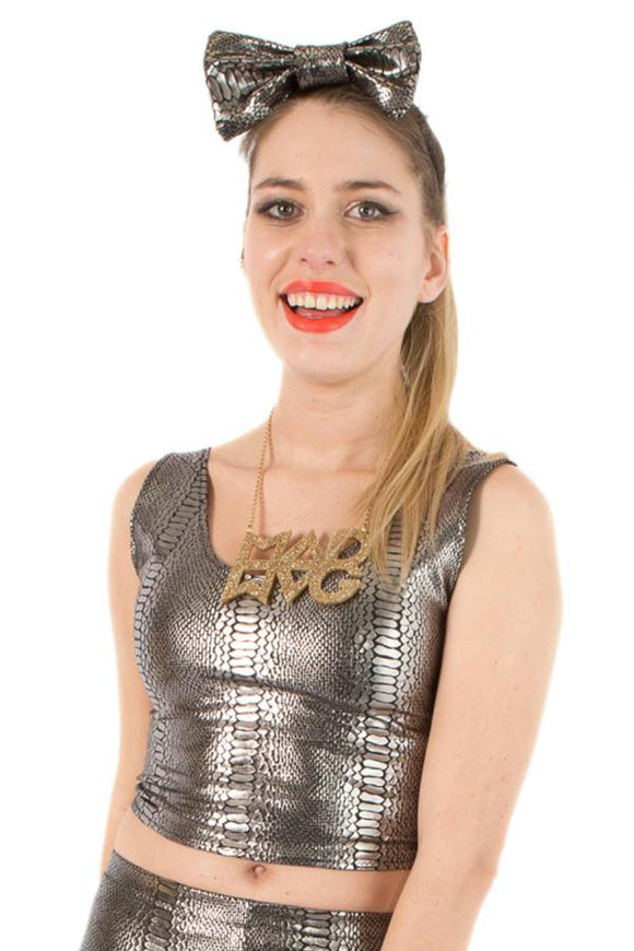 Silver Snakeskin Festival Party Crop Top MADWAG