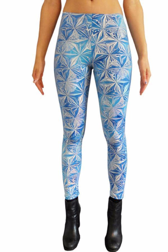Holographic Blue 'Ice' Leggins Festival Party Leggings MADWAG