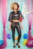 Black Holographic Shiny Shimmer Leggings Festival Party Leggings MADWAG