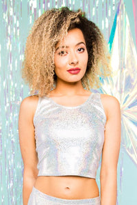 Holographic Sparkly Silver Snakeskin Crop Top Festival Party Top MADWAG