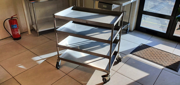 Stainless steel heavy duty 4 tier trolley - American Catering Equipment (UK) Ltd