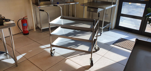 Stainless steel heavy duty 3 tier trolley - American Catering Equipment (UK) Ltd