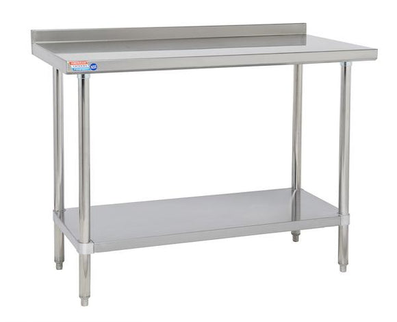 "SSWB430 Wall Table 1219 x 762 x 914 mm (48"" x 30"" x 36"") 50mm (2.5"") Upstand to rear"