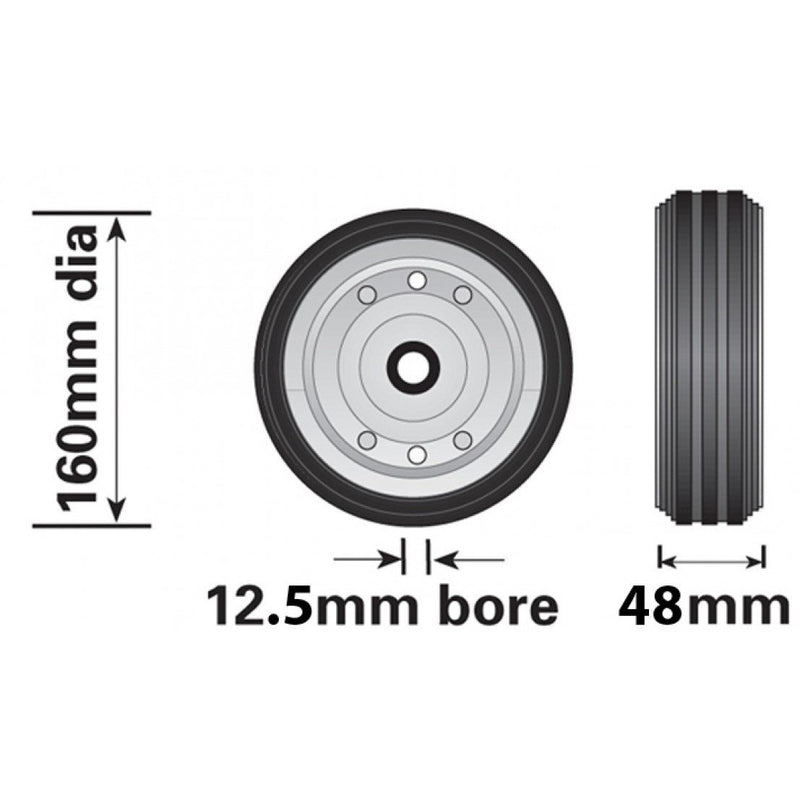 160mm Steel/Rubber Wheel