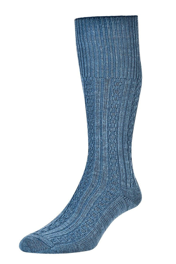 HJ Hall Diamond Sock - Slate Blue - 6 - 11