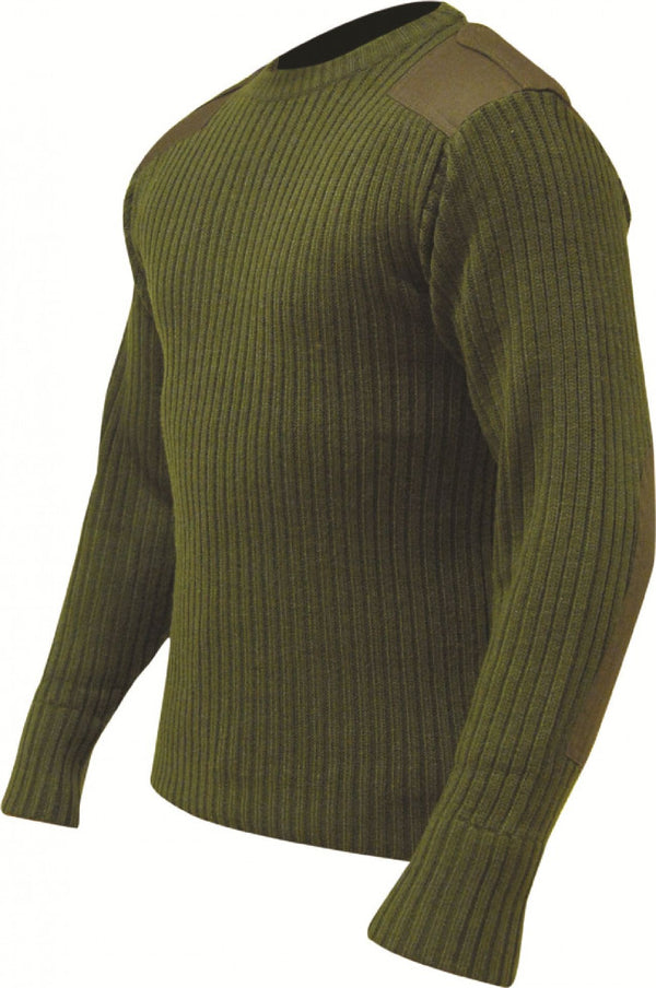 Highlander Crew Neck Army Style Sweater - Olive
