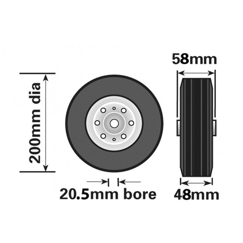 200mm Wheel with Steel Insert