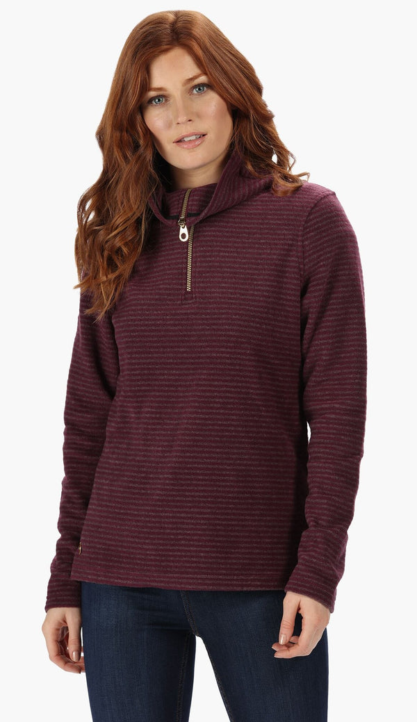 Regatta Solene Half Zip Stripe Fleece - Prune