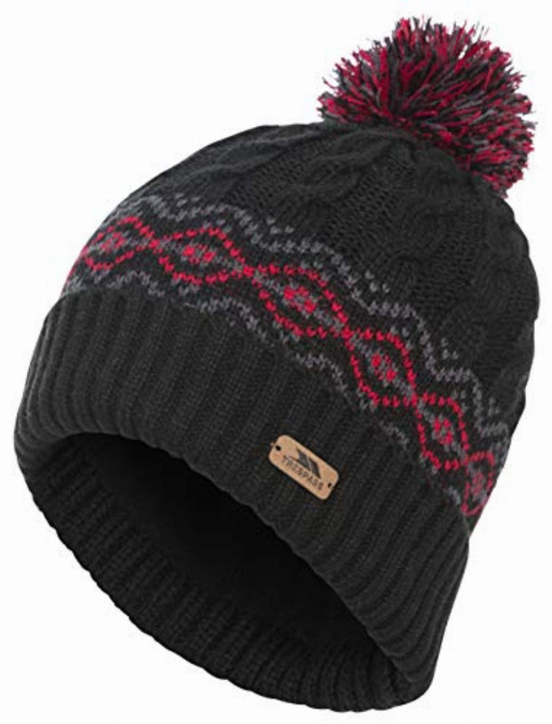 Trespass Andrews Men's Fleece Lined Bobble Hat - Black