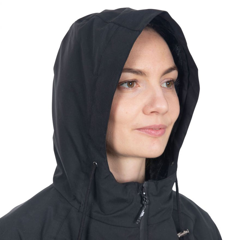 Trespass Tweak Women's Long Length Waterproof Jacket - Black